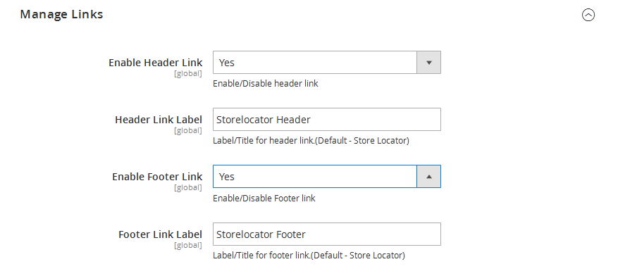 Link Store Locator to Header and footer