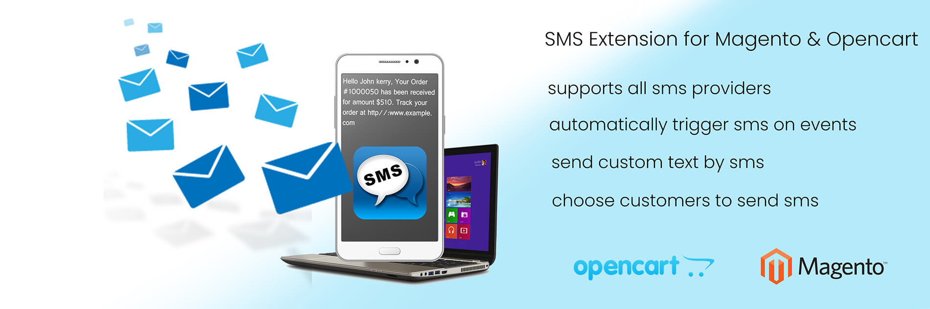 sms extension for opencart and magento