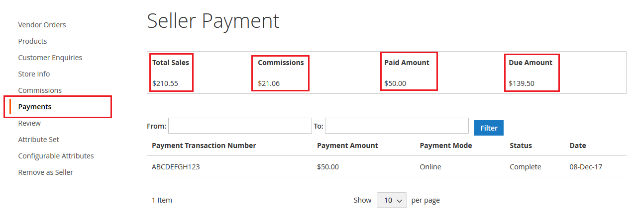 seller payment view