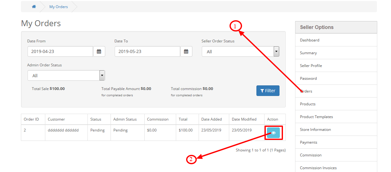 How Seller can manage the order status in the Purpletree
