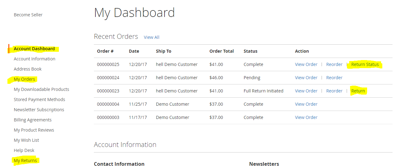 Customer Dashboard for returns